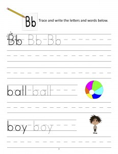 Download the manuscript handwriting letter B worksheet