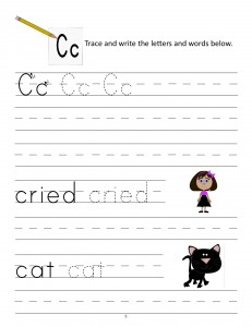 Download the manuscript handwriting letter C worksheet