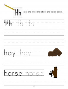 Download the manuscript handwriting letter H worksheet