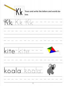 Download the manuscript handwriting letter K worksheet