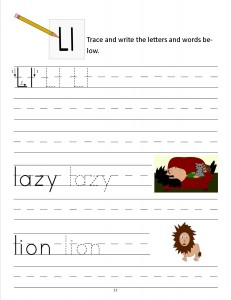 Download the manuscript handwriting letter L worksheet
