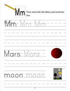 Download the manuscript handwriting letter M worksheet