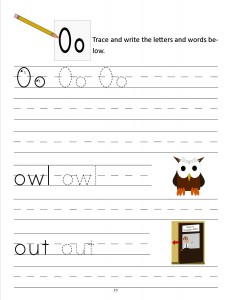 Download the manuscript handwriting letter O worksheet