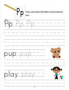 Download the manuscript handwriting letter P worksheet