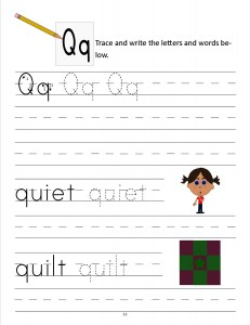 Download the manuscript handwriting letter Q worksheet