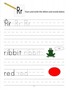 Download the manuscript handwriting letter R worksheet