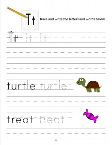 Download the manuscript handwriting letter T worksheet