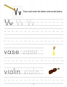 Download the manuscript handwriting letter V worksheet