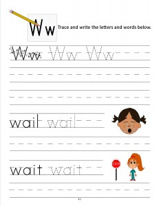 Download the manuscript handwriting letter W worksheet
