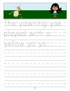 Download the manuscript handwriting letter Y copywork