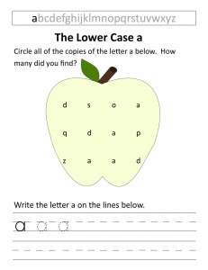 Download the lower case a worksheet