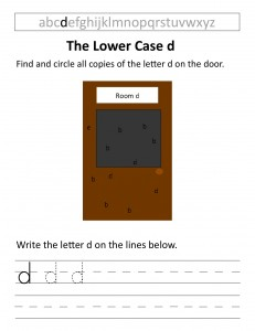 Download the lower case d worksheet