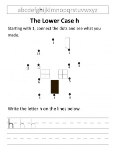 Download the lower case h worksheet