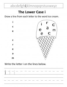 Download the lower case i worksheet
