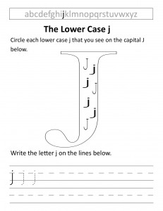 Download the lower case j worksheet