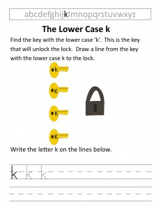 Download the lower case k worksheet