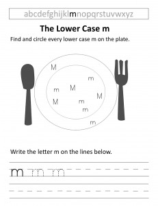 Download the lower case m worksheet