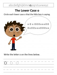 Download the lower case o worksheet