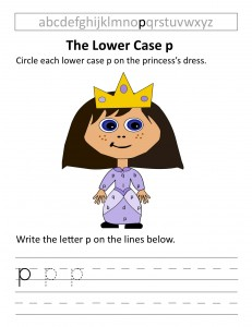 Download the lower case p worksheet