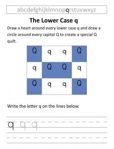 Download the lower case q worksheet