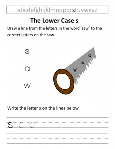 Download the lower case s worksheet