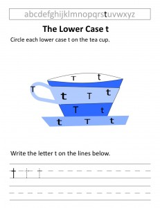 Download the lower case t worksheet