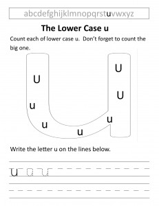 Download the lower case u worksheet