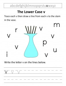 Download the lower case v worksheet