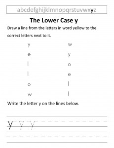 Download the lower case y worksheet