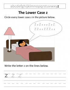 Download the lower case z worksheet