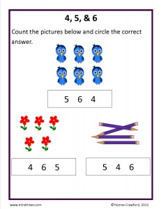 Download the counting from 4 to 6 worksheet