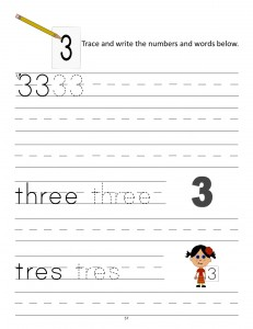 Download the manuscript handwriting number 3 worksheet