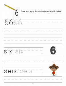 Download the manuscript handwriting number 6 worksheet