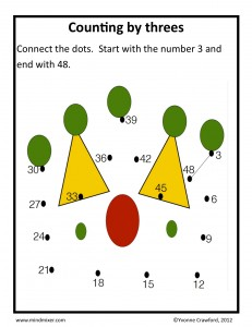 Download the counting by threes worksheet