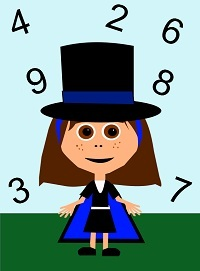 Numbers copywork with Mia the Math Magician