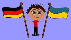 A boy with some international flags