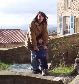 Yvonne and her son in Montpeyroux, France