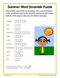 Summer Word Scramble Puzzle   Mixminder