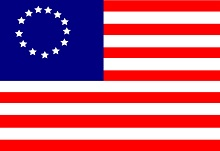 An early American flag with 13 stars