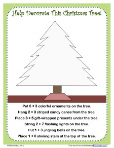 Christmas tree addition worksheet