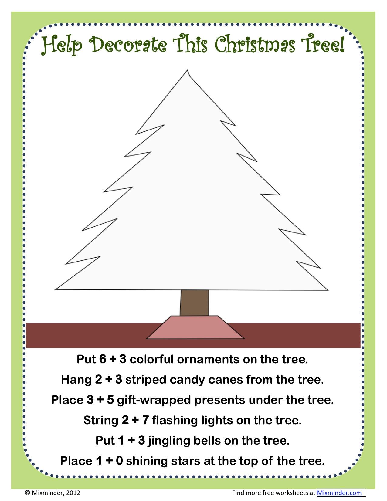 Common Core Addition Christmas Tree Activity