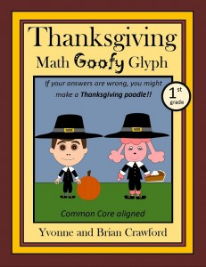 Thanksgiving Math Goofy Glyph for First Grade