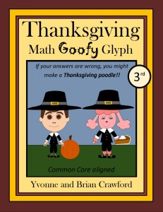 Thanksgiving Math Goofy Glyph for Third Grade