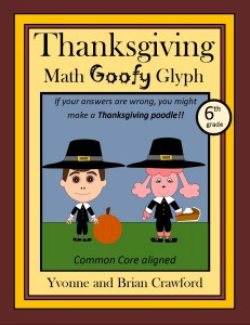 Thanksgiving Math Goofy Glyph for Sixth Grade
