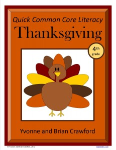 Thanksgiving Quick Common Core Literacy for Fourth Grade