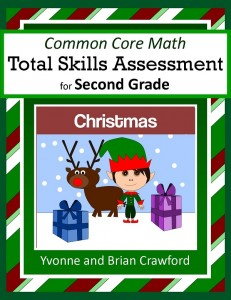 Christmas Common Core Math Total Skills Assessment for Second Grade