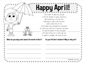 April writing worksheet activity