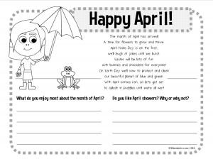 April writing worksheet activity