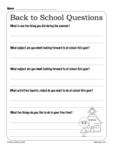 Back to School Questions worksheet