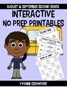 Back to School Interactive No Prep Printables - Second Grade
